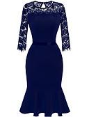 preiswerte Abendkleider-Damen Hose - Solide Blau, Spitze Marineblau / Party