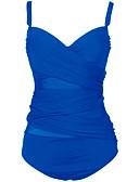 billige Bikinier og damemote-Dame Store størrelser Med stropper Blå Svart Underbukser En del Badetøy - Ensfarget XXL XXXL 4XL