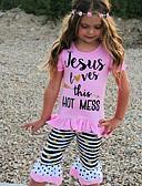 tanie Spodnie i getry-Brzdąc Dla dziewczynek Nadruk Krótki rękaw Bawełna Komplet odzieży