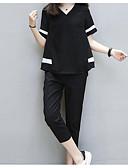 ieftine Bluză-Pentru femei Casul / Zilnic Bluză - Mată / Bloc Culoare, Pantaloni În V / Primăvară / Vară
