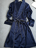 cheap Robes & Sleepwear-Women's Satin Robes Nightwear Solid Colored / V Neck