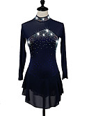 cheap Ice Skating Dresses , Pants & Jackets-Figure Skating Dress Women's / Girls' Ice Skating Aquamarine / Navy Blue High Elasticity Competition Skating Wear Quick Dry, Anatomic Design Classic Long Sleeve Ice Skating / Figure Skating