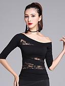 baratos Vestidos de Mulher-Dança Latina Blusas Mulheres Treino Modal Renda Meia Manga Blusa