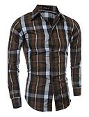 ieftine Tricou Bărbați-Bărbați Mărime Plus Size Cămașă Bumbac Activ - Mată / Dungi / Plisat / Manșon Lung