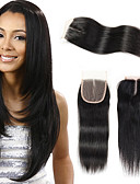 preiswerte Damen Kleider-Febay Brasilianisches Haar 4x4 Closure Glatt Kostenlose Part / Mittelteil / 3 Teil Schweizer Spitze Remi-Haar Damen Alltag