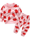 baratos Conjuntos para Bebês-bebê Para Meninas Desenho Algodão / Feriado / Para Noite Animal / Desenho Animado Manga Longa Padrão Padrão 100% Algodão Conjunto Rosa 90 / Casual
