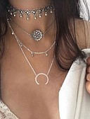 cheap Wedding Veils-Women's Geometric Layered Necklace - Flower Bikini, Fashion, Euramerican Silver Necklace For Party
