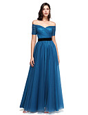 cheap Prom Dresses-A-Line Off Shoulder Floor Length Tulle Celebrity Style Prom / Formal Evening Dress with Sash / Ribbon / Criss Cross by TS Couture®