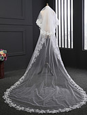 cheap Wedding Veils-Two-tier Lace Applique Edge Wedding Veil Chapel Veils 53 Satin Flower Embroidery Tulle