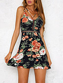 cheap Women's Dresses-Women's Club Going out Boho Sheath Dress - Floral Backless Cut Out High Rise Mini Strap