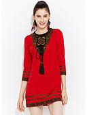 tanie Sukienki-Damskie Rozmiar plus Wyjściowe Wyrafinowany styl / Moda miejska Linia A Sukienka - Haft Wysoki stan Przed kolano Czerwony