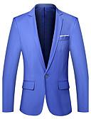 cheap Men's Pants & Shorts-Men's Work Simple Spring / Fall Plus Size Regular Blazer, Solid Colored V Neck Long Sleeve Cotton Light Blue / Khaki / Royal Blue XXL / XXXL / 4XL