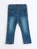 baratos Conjuntos para Meninas-Para Meninas Calças Sólido Primavera Outono Algodão Azul