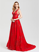 cheap Evening Dresses-A-Line Plunging Neck Court Train Tulle Sparkle & Shine / Open Back / Celebrity Style Cocktail Party / Formal Evening Dress with Sequin by TS Couture®