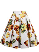 cheap Women's Skirts-Women's Holiday / Going out Active Cotton A Line Skirts - Geometric Pineapple, Print / Spring / Summer / Fall / Floral Patterns