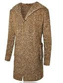 tanie Męskie swetry i swetry rozpinane-Męskie Kaptur Długi Rozpinany Jendolity kolor Długi rękaw / Wybierz rozmiar o jeden większy od Twojego normalnego rozmiaru.