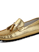 cheap Men's Polos-Men's Moccasin Nappa Leather Spring / Fall Loafers & Slip-Ons Gold / Silver / Party & Evening