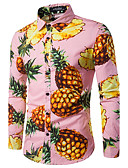cheap Men's Tees & Tank Tops-Men's Work Cotton Shirt - Fruit Pineapple, Print / Long Sleeve