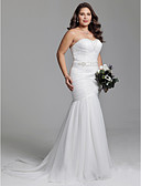 cheap Wedding Dresses-Mermaid / Trumpet Sweetheart Neckline Court Train Tulle Made-To-Measure Wedding Dresses with Beading / Sashes / Ribbons / Ruched by LAN