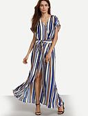 baratos Vestidos Longos-Mulheres Feriado / Para Noite / Trabalho Boho Bainha / balanço Vestido Listrado Decote V Longo / Bandagem