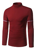 cheap Men's Tees & Tank Tops-Men's Street chic Long Sleeves Pullover - Solid Colored Turtleneck