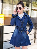 cheap Women's Dresses-Women's Daily Spring / Fall Long Denim Jacket, Solid Colored Square Neck Long Sleeve Cotton Blue L / XL / XXL