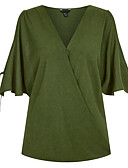 cheap Women's Blouses-Women's Going out Blouse - Solid Colored V Neck