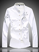 cheap Men's Shirts-Men's Work Active Cotton Shirt - Solid Colored Print Black XXXXL / Long Sleeve