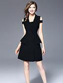 baratos Vestidos Femininos-Mulheres Para Noite Algodão Bainha Vestido Sólido Decote Quadrado Acima do Joelho