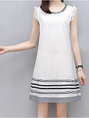 cheap Women's Dresses-Women's Plus Size Going out Loose Dress - Striped White