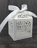 abordables Courtes Robes de Demoiselles d'Honneurs-Rond / Carré / Cubique Papier nacre Titulaire de Faveur avec Ruban / Imprimé Boîtes à cadeaux - 50