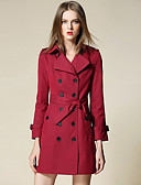 cheap Women's Dresses-Women's Trench Coat - Solid Colored Shirt Collar / Lantern Sleeve