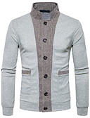 abordables Camisas de Hombre-Hombre Fin de semana Lana Delgado Cardigan - Bloques Escote Chino