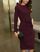 tanie Suknie i sukienki damskie-Damskie Puszysta Wyjściowe Casual / Moda miejska Pochwa Sukienka - Solidne kolory Midi / Szczupła