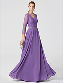 cheap Evening Dresses-A-Line V Neck Floor Length Chiffon / Lace See Through Cocktail Party / Formal Evening Dress with Beading / Sash / Ribbon by TS Couture® / Illusion Sleeve