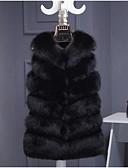 cheap Wedding Dresses-Women's Daily Fall / Winter Plus Size Long Vest, Solid Colored Round Neck Sleeveless Faux Fur Beige / Gray / Khaki XXL / XXXL / 4XL