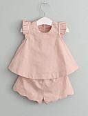 levne Sady oblečení na miminka-Toddler Dívčí Volánky Jednobarevné Bez rukávů Standardní Umělé hedvábí Sady oblečení Trávová zelená