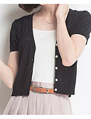 cheap Women's Blouses-Women's Going out Short Sleeve Cotton Cardigan - Solid Colored, Cut Out V Neck / Fall / Winter