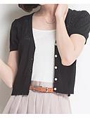 preiswerte Damen Pullover-Damen Ausgehen Baumwolle Kurzarm Strickjacke - Solide, Ausgehöhlt V-Ausschnitt