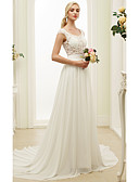 cheap Wedding Dresses-A-Line / Princess Scoop Neck Court Train Chiffon / Lace Made-To-Measure Wedding Dresses with Appliques / Sash / Ribbon by LAN TING BRIDE®