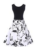 olcso Női ruhák-Női Szabadság / Munka Vintage Pamut Hüvely / Swing Ruha Virágos Térdig érő