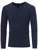 cheap Men's Tees & Tank Tops-Men's Plus Size Active Long Sleeve Pullover - Solid Colored V Neck