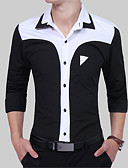 cheap Men's Shirts-Men's Slim Shirt - Color Block Black & White, Patchwork Spread Collar / Long Sleeve