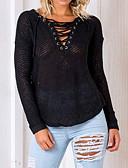 お買い得  レディースセーター-女性用 ワーク お出かけ ストリートファッション 長袖 Vネック プルオーバー - ソリッド Vネック