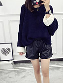 cheap Women's Sweaters-Women's Daily Color Block Long Sleeve Short Pullover, Round Neck Spring / Fall Blue / Black / Red One-Size