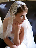 cheap Wedding Slips-One-tier Lace Applique Edge Wedding Veil Chapel Veils 53 Appliques Tulle
