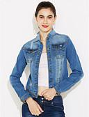 baratos Roupa de Exterior de Mulher-Mulheres Jaqueta jeans Clássico-Côr Sólida Estilo Formal