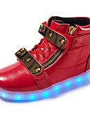 halpa Sulhaspojat-Poikien Kengät Nahka Kevät Comfort / Välkkyvät kengät Lenkkitossut Kävely Tarranauhalla / LED varten Valkoinen / Musta / Punainen