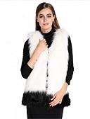 baratos Trench Coats e Casacos Femininos-Mulheres Colete Para Noite Sólido, Pêlo Sintético