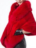 זול מעילים ובלשיות לנשים-אחיד צווארון מרובע מעיל פרווה - בגדי ריקוד נשים דמוי פרווה